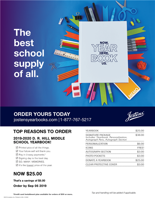 Information on how to order a yearbook from Jostens.