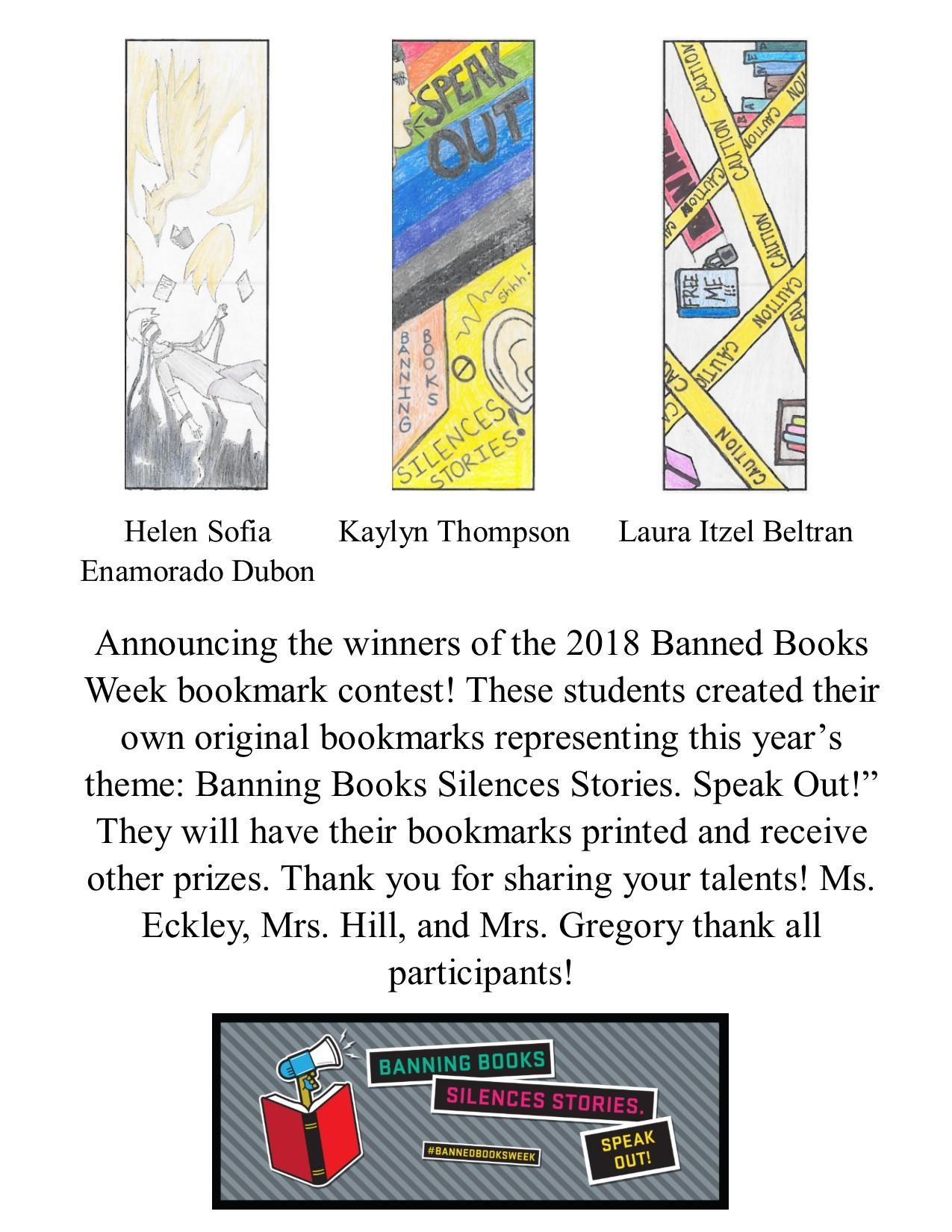 Bookmark Contest Winners 2018